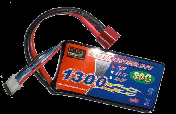 2 cellet LiPo batteri