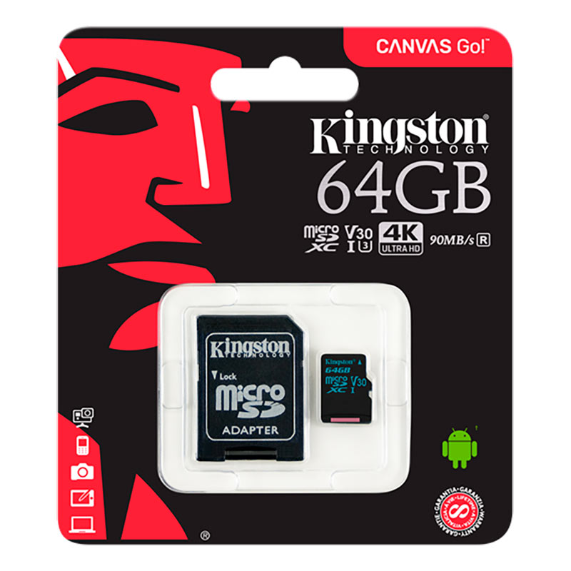 Image of   Kingston Micro SDHC-kort 64GB, Class 10 - inkl. adaptor